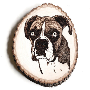 custom hand-burned dog portrait on birchwood slice