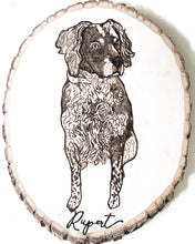 Load image into Gallery viewer, custom hand-burned dog portrait on birchwood slice