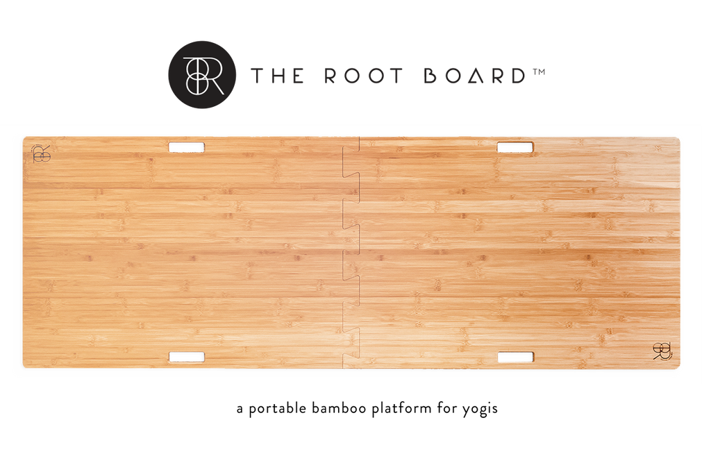 The Root Board two piece bamboo platform for practicing yoga on carpet and outdoors