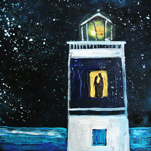 Cotillo Lighthouse - acrylic on wood