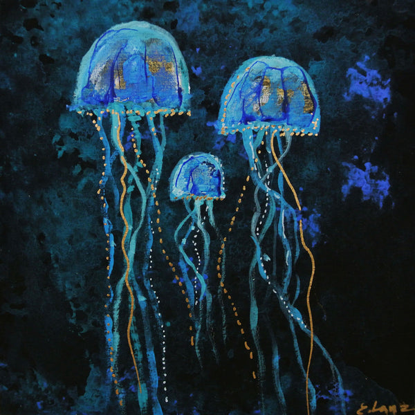 Jellyfish Family - Acrylic On Wood