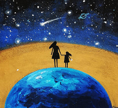 Family on Planet Earth with Golden Horizon - Acrylic On Wood - Personalizable