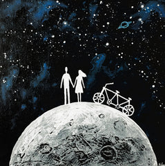 Couple on the Full Moon - Create a planet where you want to live with someone you love
