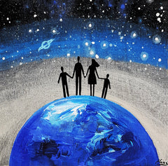 Family on Planet Earth with Silver Horizon - Acrylic On Wood - Personalizable