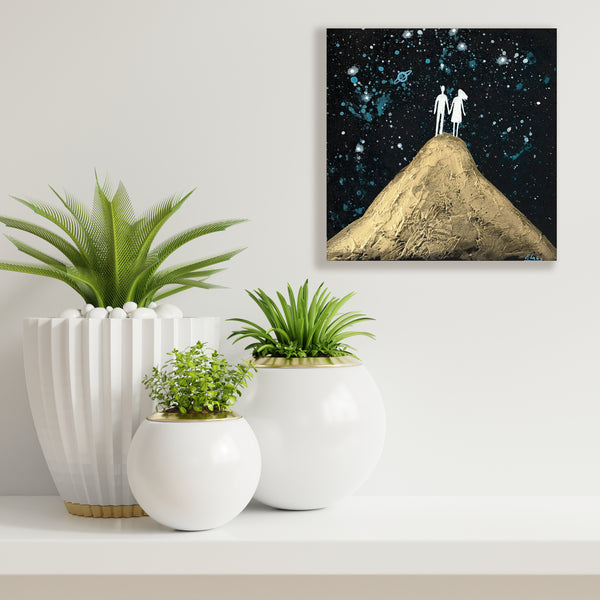 Couple On The Volcano - acrylic on wood