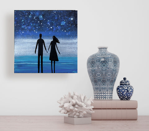 Couple over Atlantic Ocean  - acrylic on wood