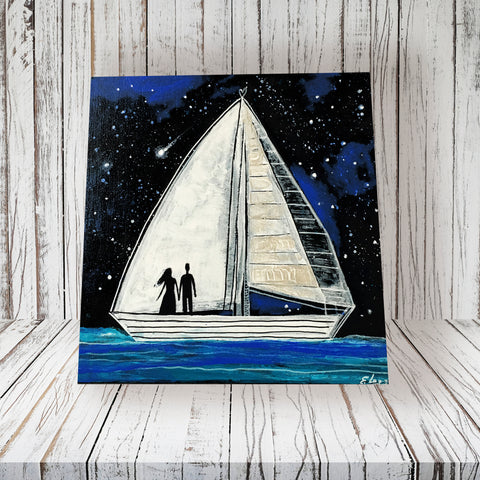 Couple Sailing - acrylic on wood