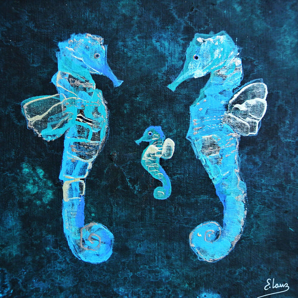 Sea Horse Family - Acrylic On Wood