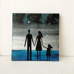 Family at the Sea - Acrylic On Wood