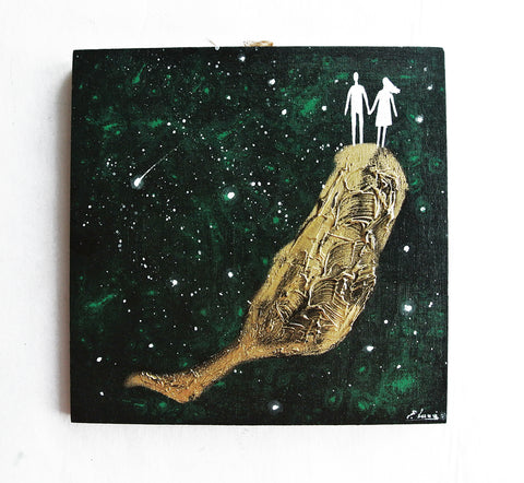 Couple On Fuerteventura And Space - acrylic on wood