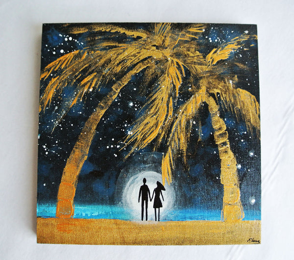 Golden Palm trees - acrylic on wood