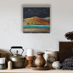 Lanzarote,  el Golfo over the stars - acrylic on wood