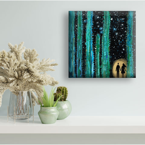 Moon Rising Over The Cactus - acrylic on wood