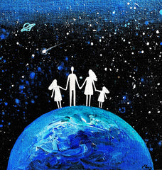 Family in Space on a Planet - Acrylic On Wood - Personalizable