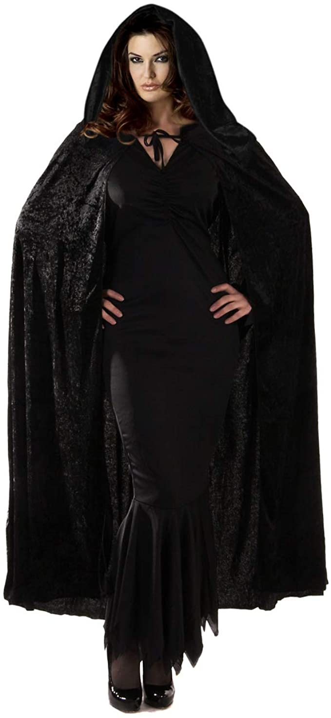 Velvet Hooded Cape Black