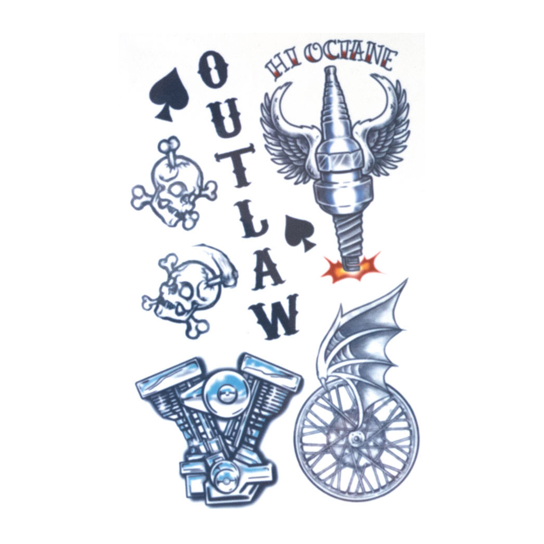 Tinsley Outlaw Biker Temporary Tattoos