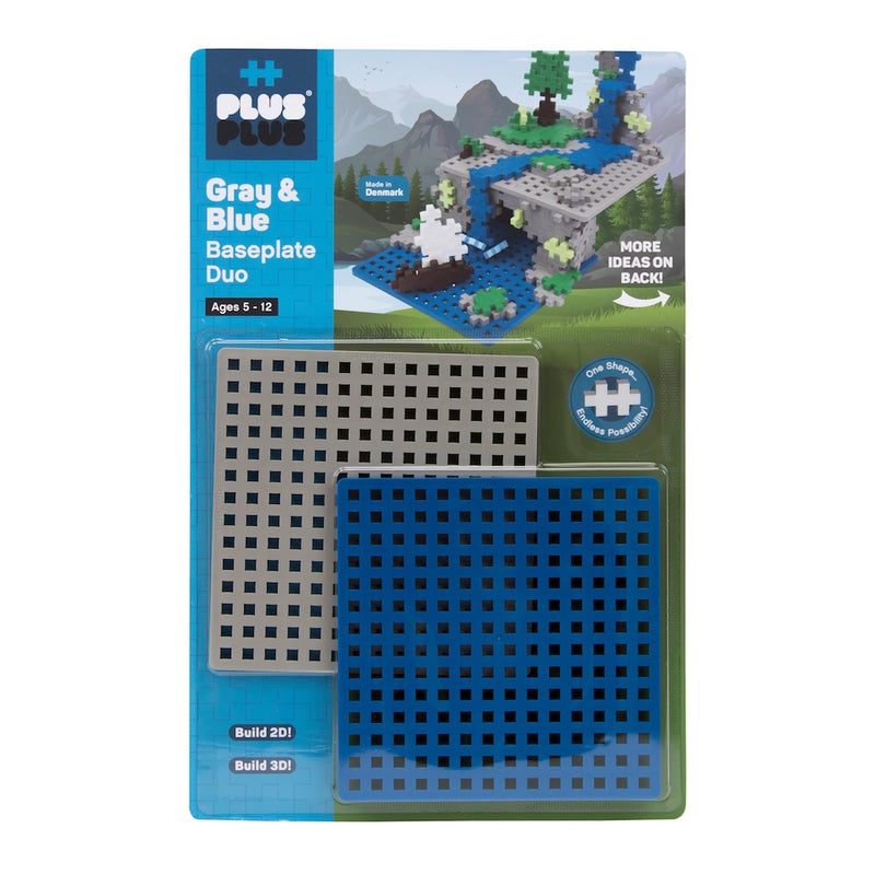 Plus Plus Baseplate Duo- Gray & Blue