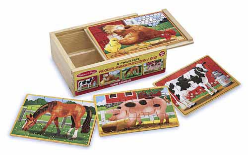 Farm Animals Puzzles in a Box