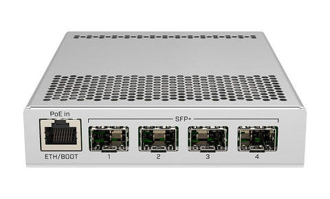 CRS305-1G-4S+IN 5-port switch with 1 Gigabit Ethernet port and 4 SFP+ 10Gbps ports