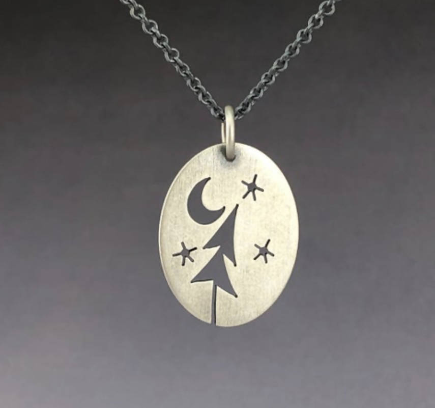 Sterling Silver Starry Skies oval pendant