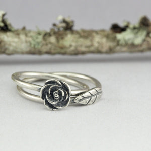 Sterling Silver Rose and Leaf Stacking Ring Set