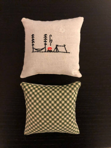 Hand-embroidered, lavender filled, camping themed aromatherapy sachet