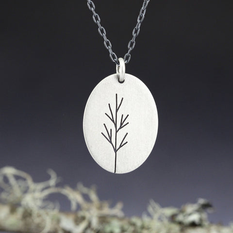 Sterling Silver Oval Sapling Tree pendant