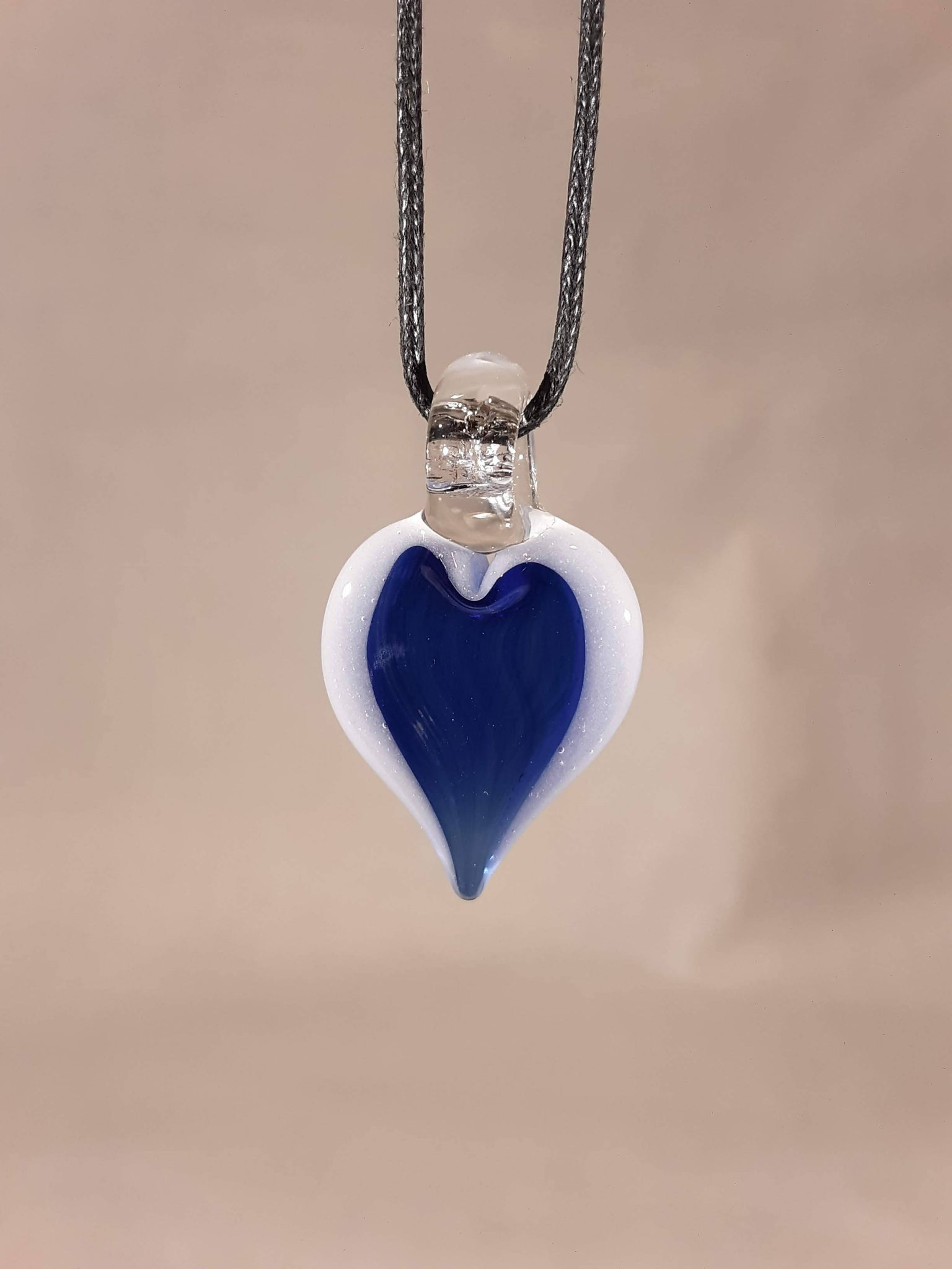 GLASS HEART PENDANT COBALT w/LIP WRAP H-OFM-02
