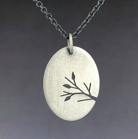 Sterling Silver Leafy Branch oval pendant