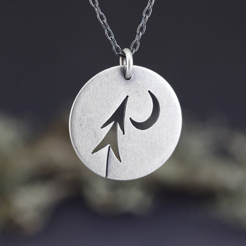 Sterling Silver Round Open Leaning Pine + Moon pendant
