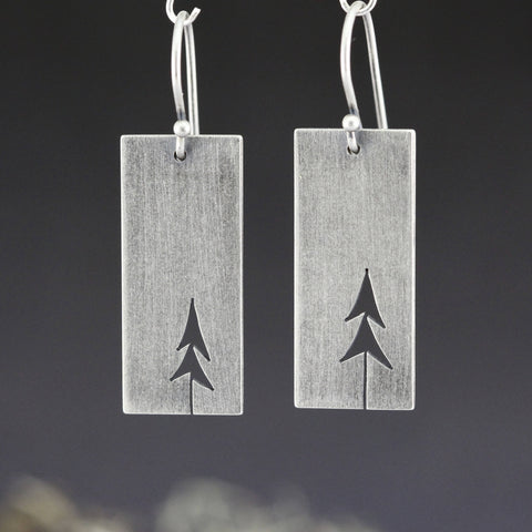 Sterling Silver Rectangle Open Pines earrings