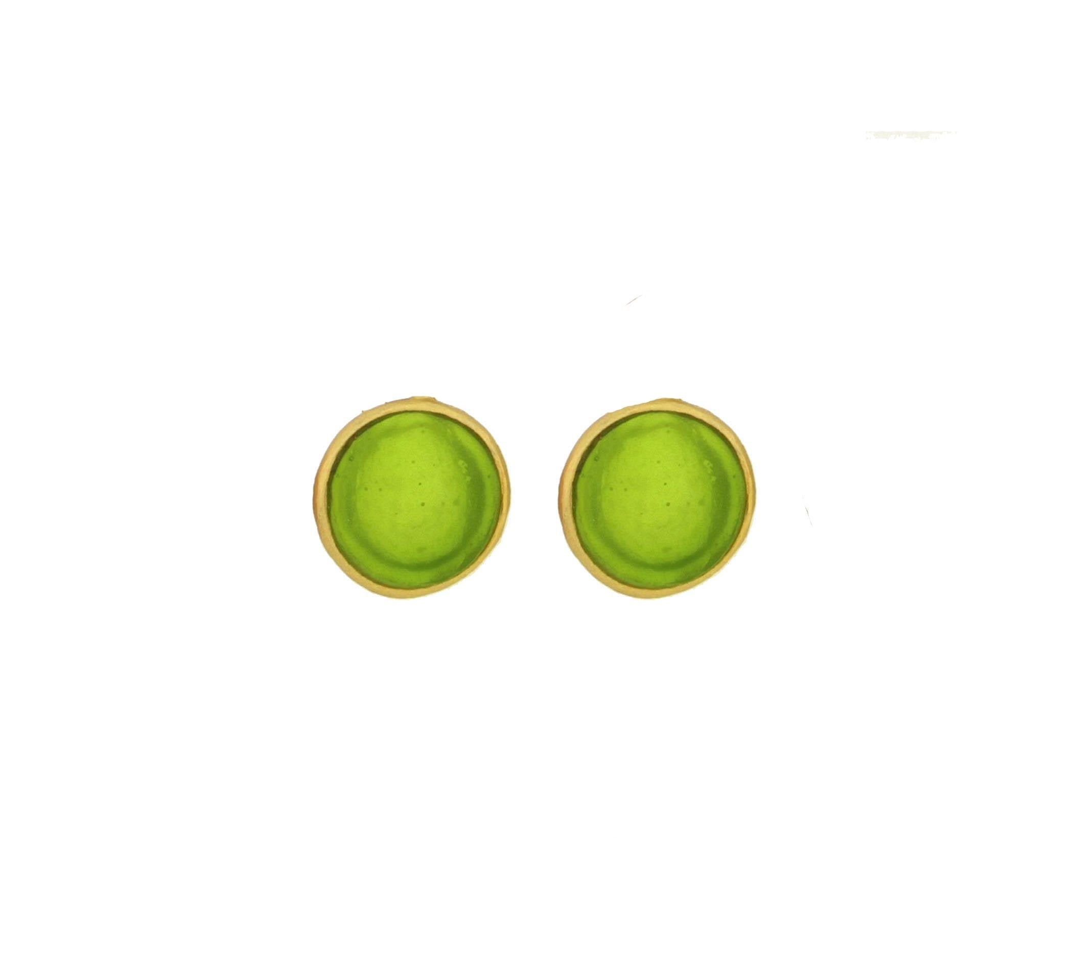 Bubble Post Earrings - Green