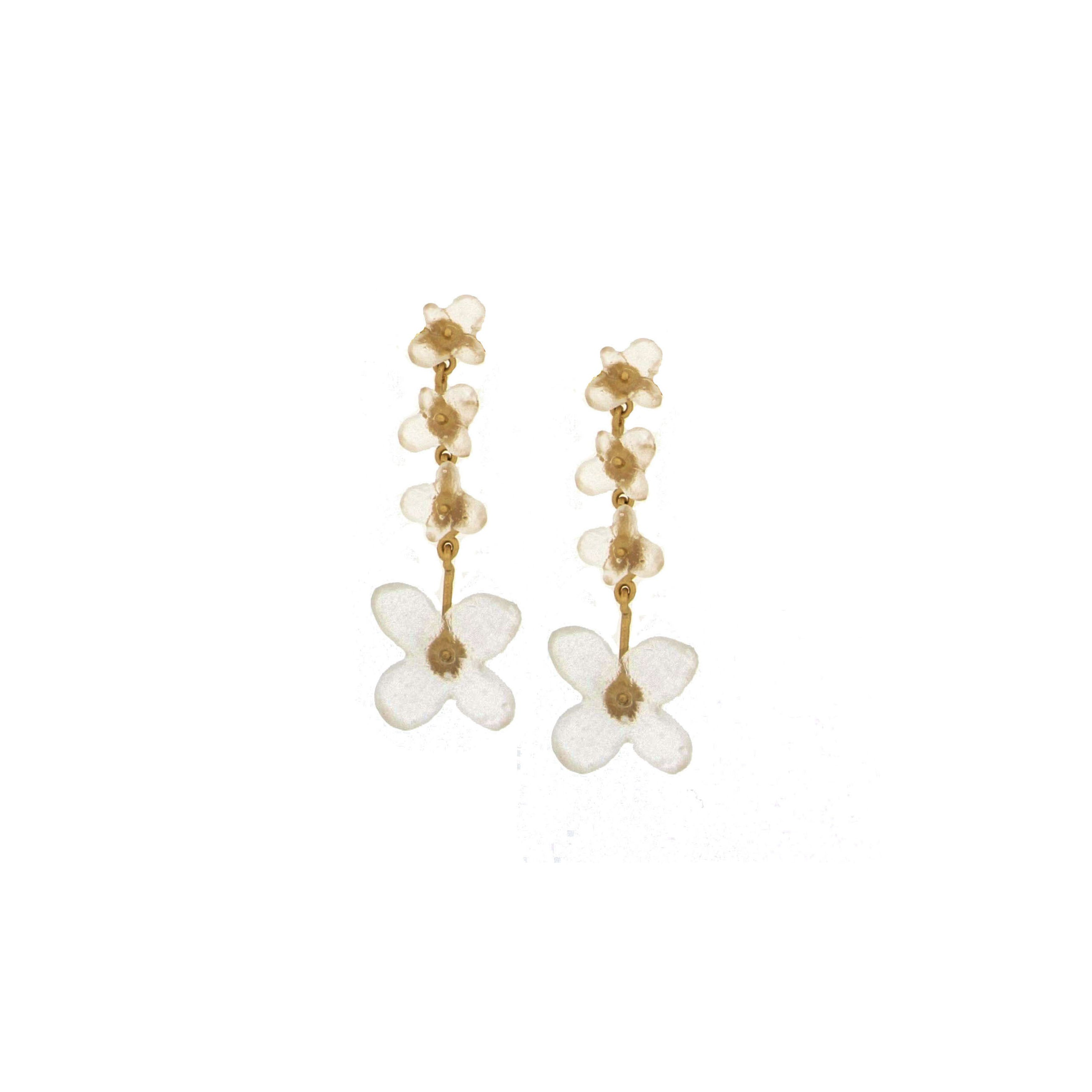 Hydrangea Drop Post Earrings - White