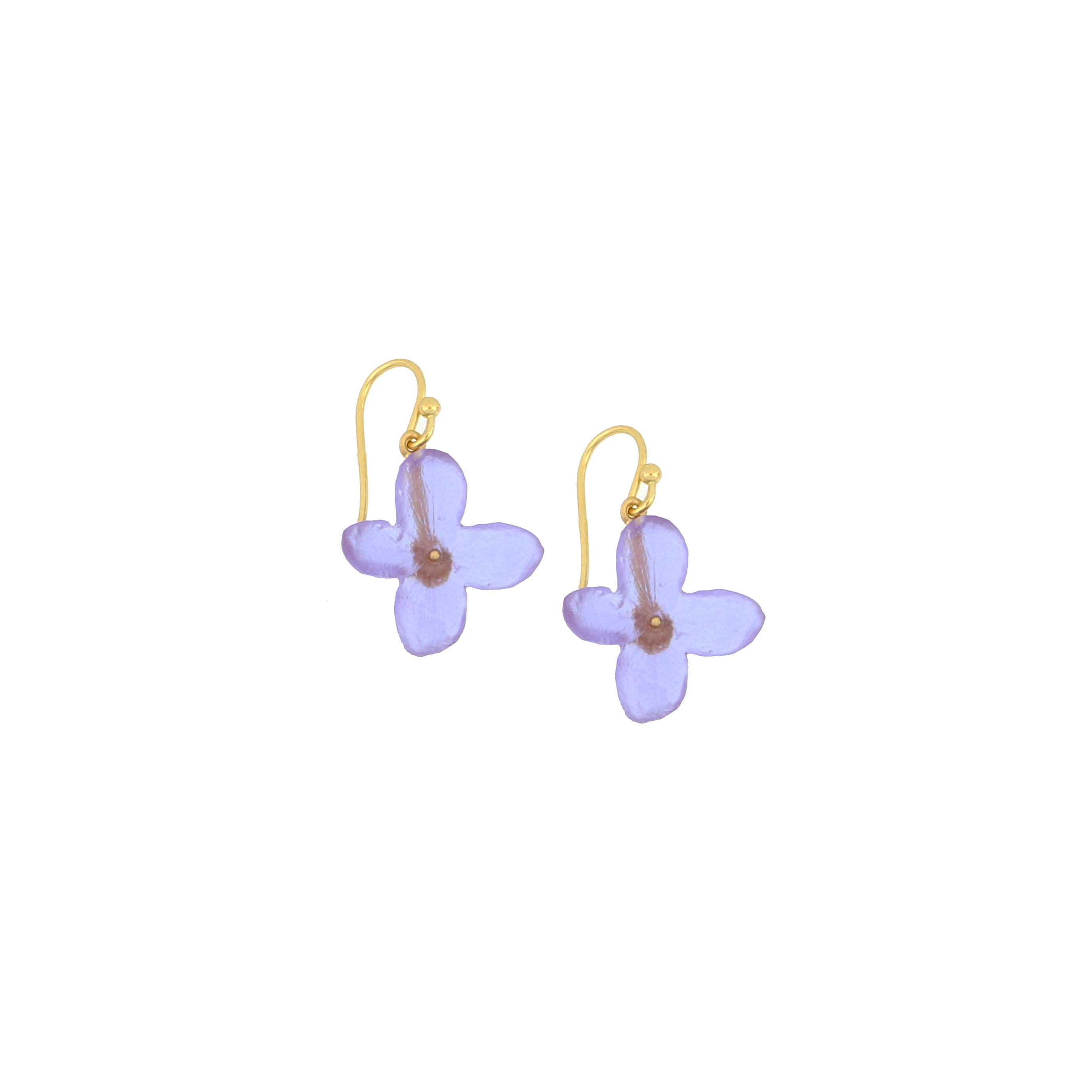 Hydrangea Wire Earrings - Lavender