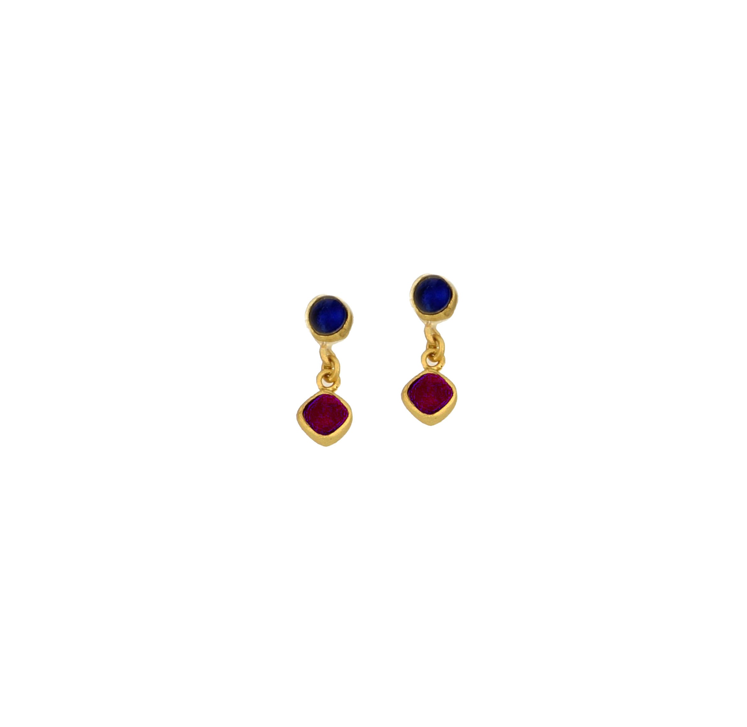 Diamond Drop 2-Stone Drop Post Earrings