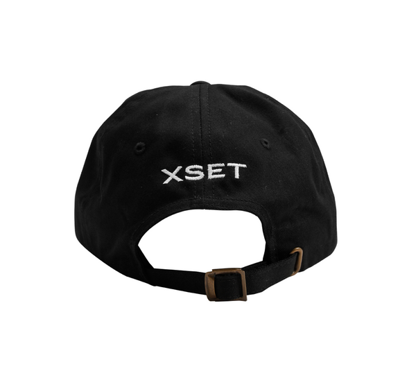The XSET Logo Snap Back Hat in Black Matte - Back View