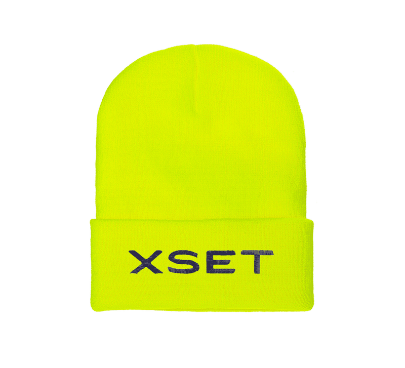 XSET TEXT CUFF BEANIE  (SAFETY GREEN)