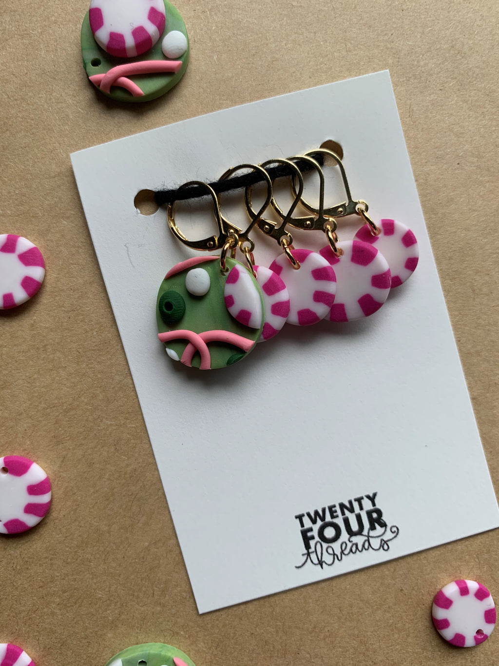 Peppermint Party Stitch Marker Set