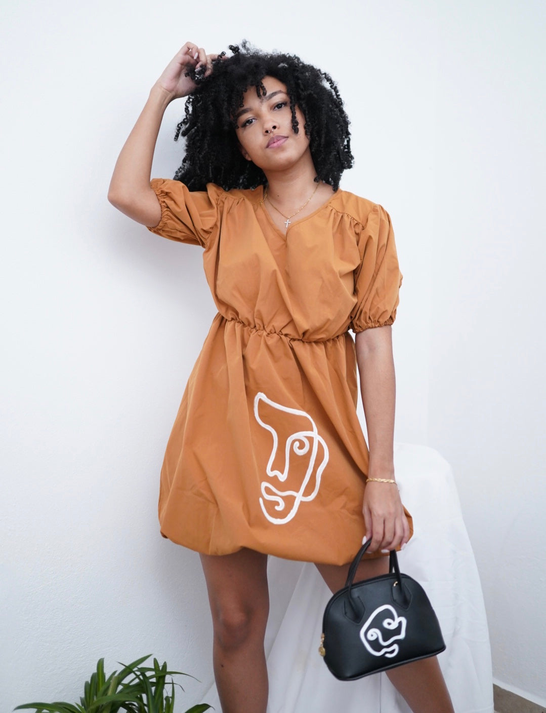 Orange Puffball Hem Dress