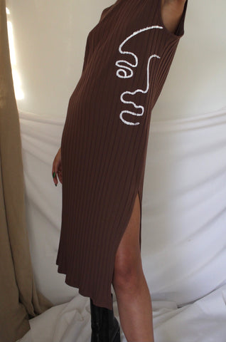 Brown Split Side Rib-Knit Dress