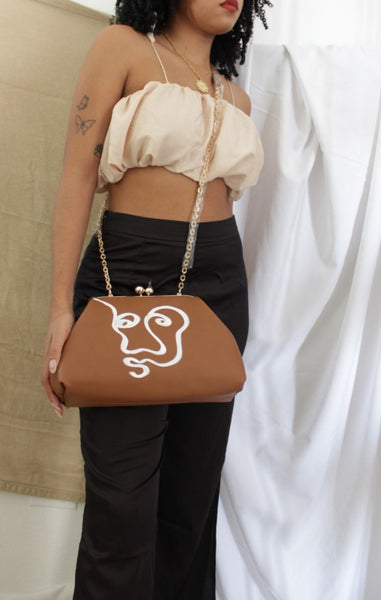 Brown Clip Top Crossbody Bag