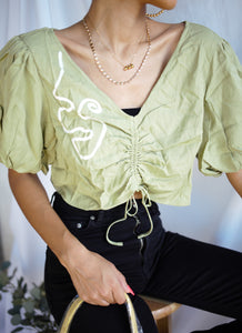 Green Puff Sleeve Crop Top