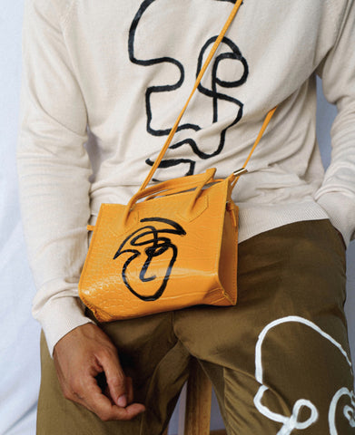 Mustard Embossed Satchel Bag