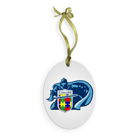 East Lancer Autism Christmas Glass Ornament