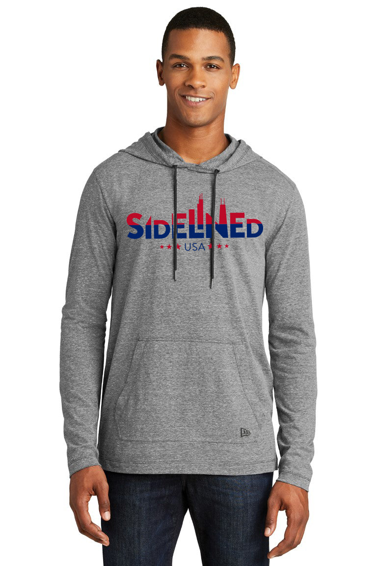 Sidelined New Era® Tri-Blend Performance Red/Blue Logo Pullover Hoodie Tee