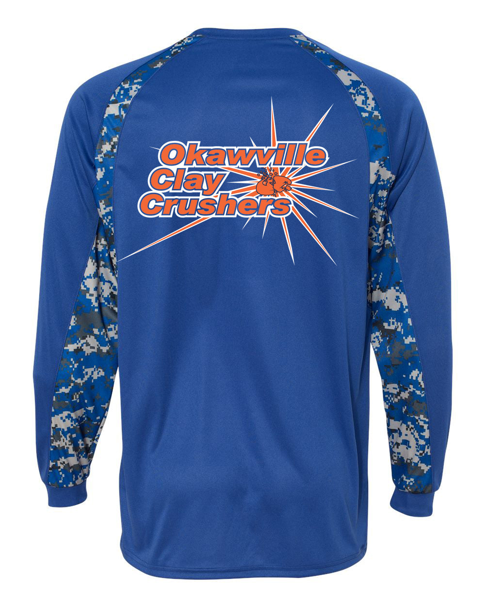Okaville Clay Crushers Digital Camo Hook Long Sleeve T-Shirt