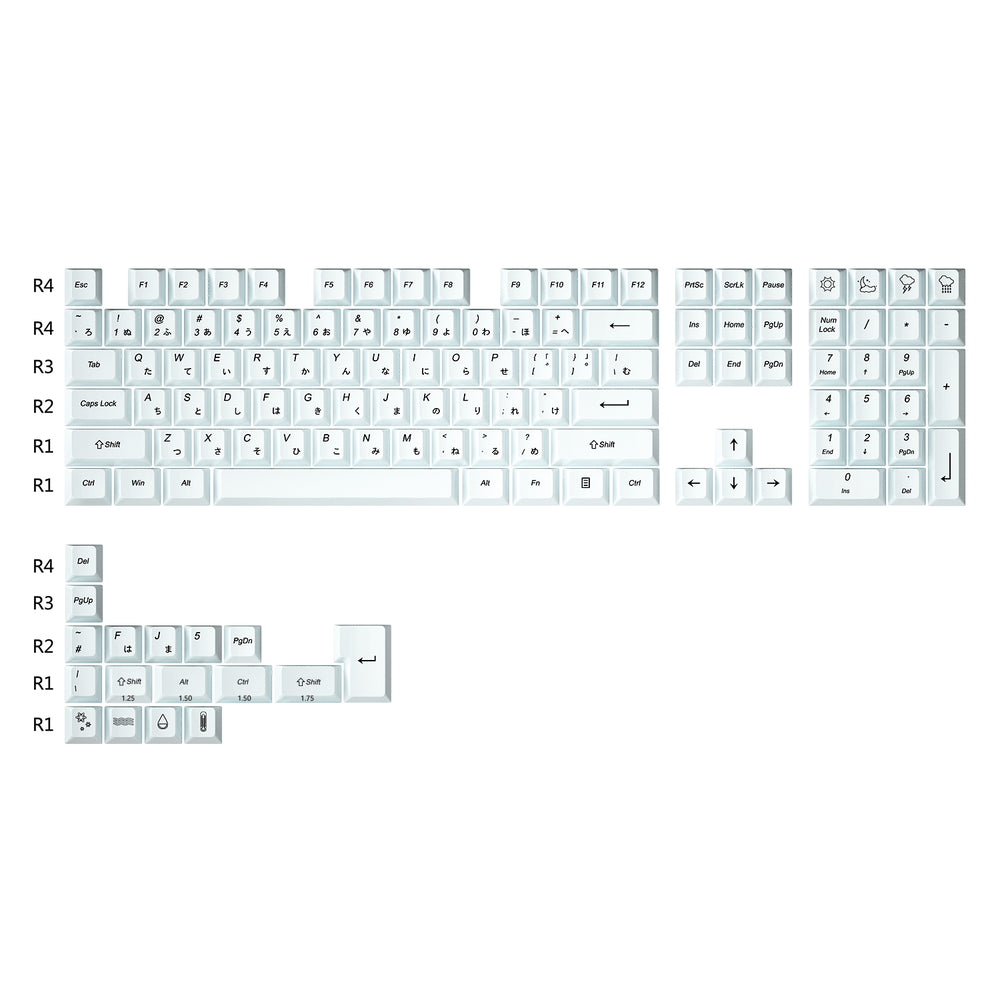 IDOBAO Cherry Profile Full white Japanese character keycap set - idobao