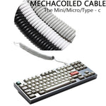 Coiled Cable Micro Mini USB Type-c Mechanical Keyboard Black White Grey Interface Cable