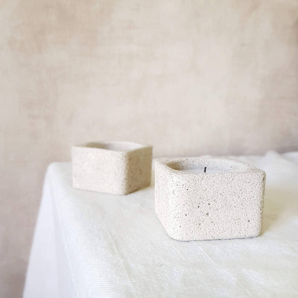Textured Stone Cube Candle Holders | 3 Colors | Sets Available