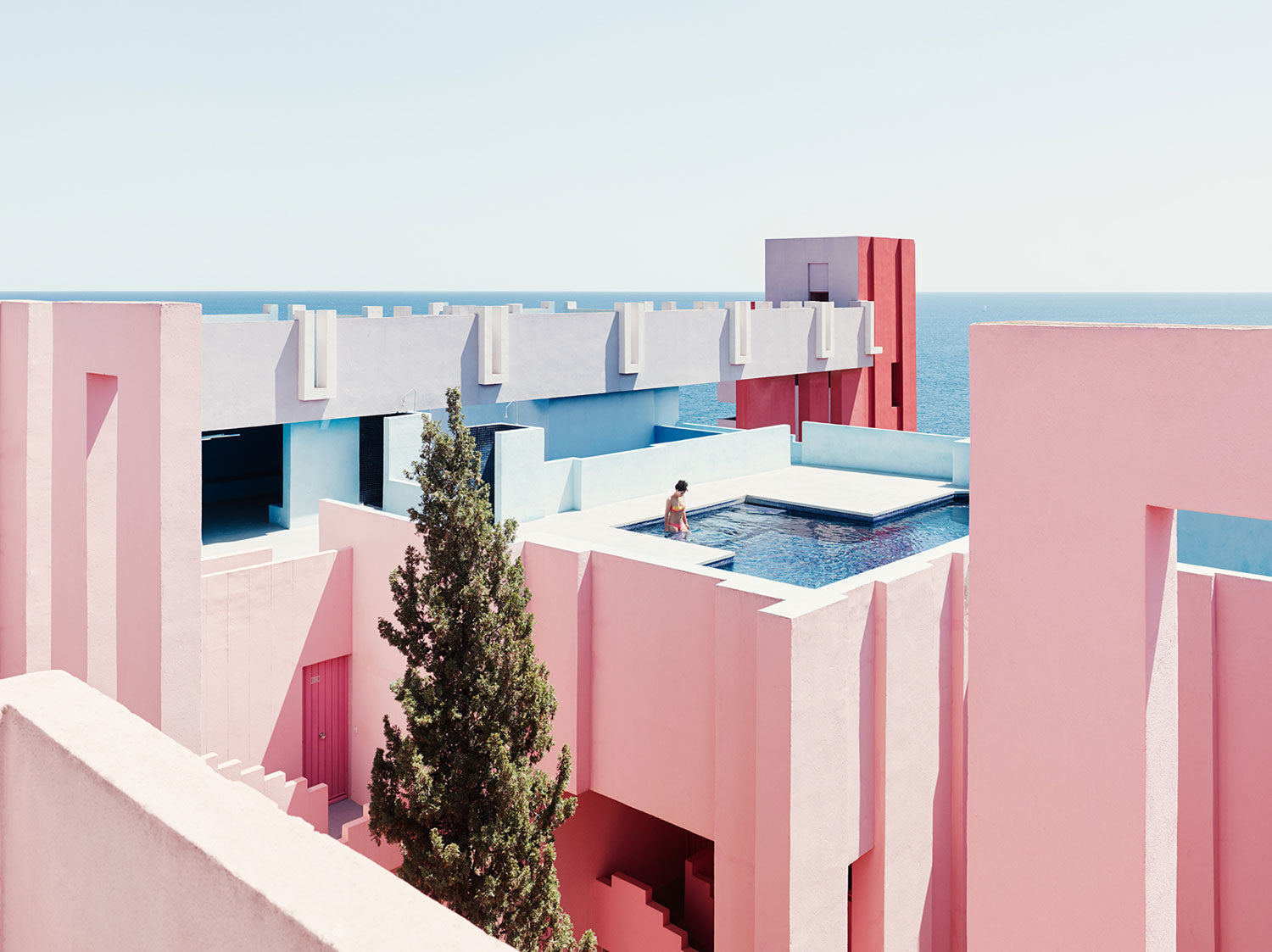 Pink concrete housing